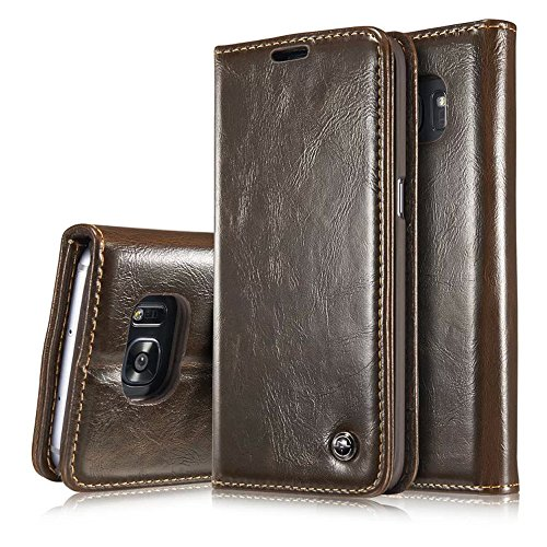 S7 edge Case,Galaxy S7 edge Wallet Case,AKHVRS Slim Genuine Leather Magnet Cover Wallet Leather Case Flip Cover Folio Case,[Card Slot][Wallet][Magnetic Closure] for Samsung Galaxy S7 edge (Brown)