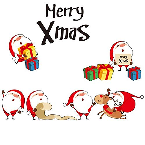 Merry Christmas Cartoon Santa Claus Vinyl Wall Stickers New Year Glass Window Home Decor Art Decals 3D Wallpaper Mural Poster
