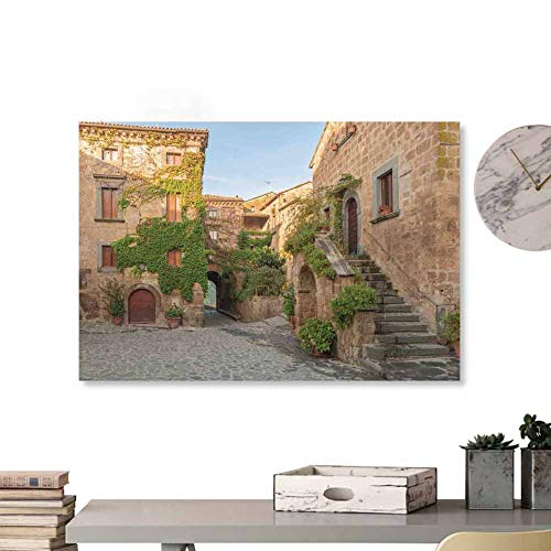 "Glifporia Fabric Cloth Rolled Tuscan,Village Houses with Colorful Flowers Outside in Burano Village Venice Italy Image,Ivory Green 32""x24"" for Bedroom Living Room Kitchen Bathroom Artwork"