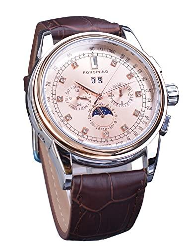 Forsining Vestido de diamante Movimiento automático mecánico para hombre reloj multifunción calendario fase lunar marrón cuero reloj de pulsera marca superior Montre