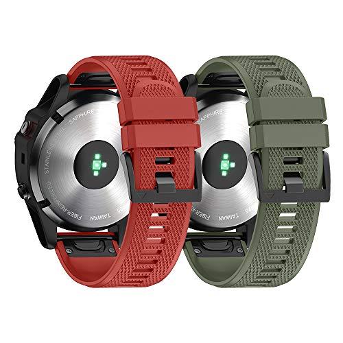 NotoCity Armband für Garmin Fenix 5 /Fenix 5 Plus/Fenix 6 /Fenix 6 Pro/Forerunner 935 /Forerunner 945 /Instinct, 22mm Breite Silikon Quick-Fit Uhrenarmband, Mehrfache Farben (Rot+Armee Grün)
