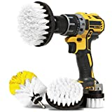 Car Detailing Kit for Trim and Interior Cleaning   4pc Drill Brush Set   Soft Bristle Scrub Brushes for Gentle, Scratch-Free Car Care   Car Wash Accessories for Cleaner Cars, Rims, and Upholstery