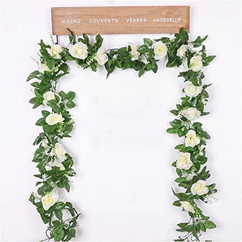 Rosengirlande Künstliche Rosenrebe mit grünen Blättern, 2 Stück Blumengirlande für Zuhause Hochzeit Dekoration (weiß)