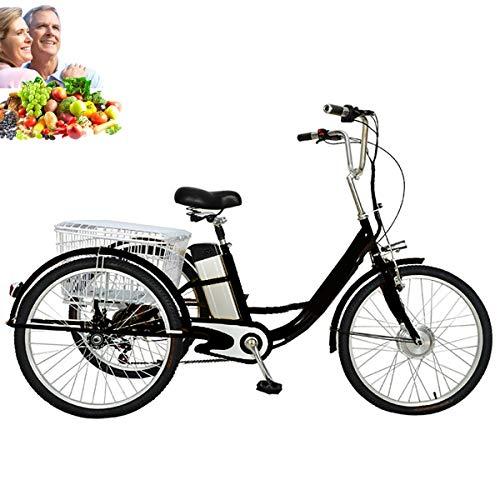 Elettrico Triciclo adulto 3 ruote bicicletta 24 pollici per genitori anziani batteria al litio rimovibile con cestino posteriore allargato shopping gita 48V12AH triciclo elettrico pedale umano