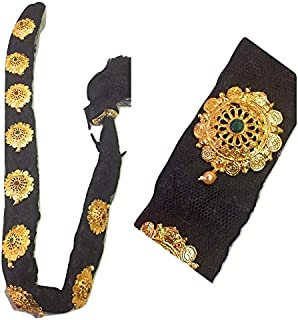 XLDreams Black Savaram and Kunjalam Kemp Ready Jada with 9 m Finish Gold Plated Designer Jadaisaram for Festival/Bharatana...