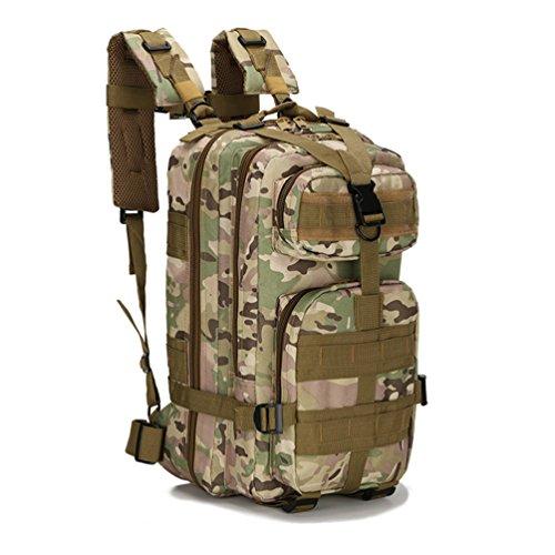 HMILYDYK Sport Outdoor Militaire Oxford Tactique Molle Sac à Dos Camping randonnée Trekking Sac 25L (Camo)