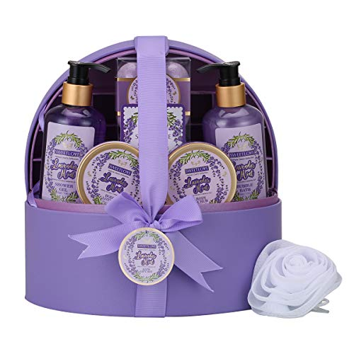 Spa Gift Baskets for Women with Jewellery Case,Bath & Body Gift Set for Her,Luxurious Lavender 12 Piece,Includes Bubble Bath,Bath Bomb,Lotion and More,Best Gift for Mother's Day,Birthday, Christmas.