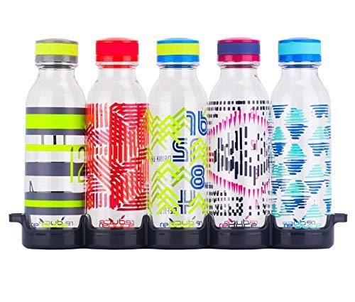 Reduce WaterWeek Reusable Water Bottles, 20oz – 5 Plastic Refillable Water Bottles and Fridge Tray For Your Reusable Water Bottle Set – BPA-Free, Leak Proof Twist Off Cap – Score