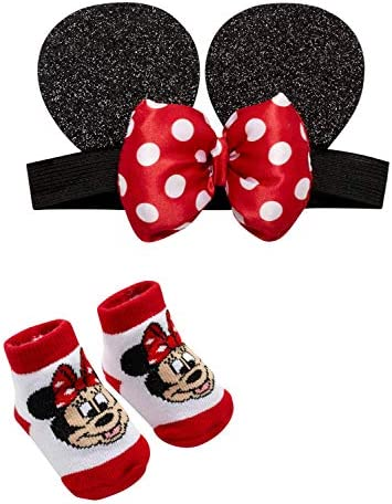 Disney Parks Minnie Mouse 3D Rattle Infant Socks 12-18M Red White Polka Dots New