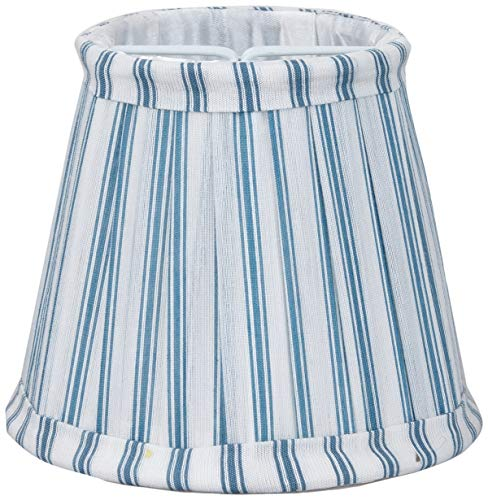 Better & Best Pantalla de lámpara de seda, con pinza de sujeción para bombillas tipo vela, tabla estrecha, de 12 cm, con rayas azules