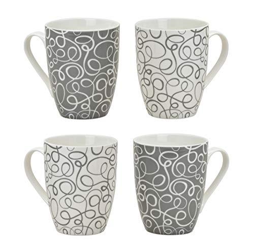 Spetebo Kaffeebecher Retro im 4er Set - 300ml - 2X weiß / 2X grau - Kaffeetasse mit Muster groß Porzellan Becher mit Henkel