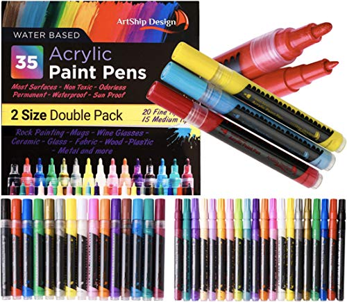 35 Premium Acrylic Paint Pens, Double Pack of Both Extra Fine and Medium Tip, for Rock Painting, Mug, Ceramic, Glass, and Fabric Painting, Water Based Non-Toxic and No Odor