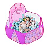 Eocolz Kids Ball Pit Large Pop UpChildrens Ball PitsTentfor ToddlersPlayhouseBaby CrawlPlaypen with Basketball Hoop and Zipper Storage Bag, 4 Ft/120CM, Balls Not Included (Pink)