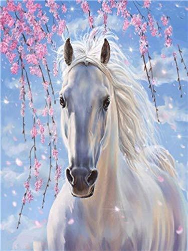 QHDXL Malen Nach Zahlen Set Weißes Pferd DIY Handgemalt Ölgemälde Weihnachten Geschenke für Erwachsene und Kinder Home Haus Dekor 40 * 50 cm(Ohne Rahmen)