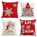 MMTX 4 Navidad Fundas de Cojines, muñeco de Nieve de Invierno, Papá Noel, para el hogar, Cojines Decorativos para Cojines Decorativos, Fundas de cojín de Navidad para sofá, para sofá Cama (Rojo)
