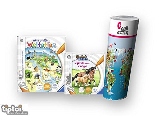tiptoi Ravensburger Bücher Wieso? Weshalb? Warum? 4-7 | Mein großer Weltatlas + Buch Pocket Wissen - Pferde und Ponys + Kinder Weltkarte