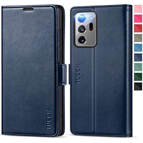 TUCCH Funda Galaxy Note 20 Ultra, Funda Piel con Bloqueo RFID, Carga Inalámbrica,Cáscara de TPU,Soporte Plegable,Ranura para Tarjeta,Funda Tapa Libro para Galaxy Note 20 Ultra (6.9''), Azul Oscuro