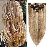Silk-co Extension de Cheveux A Clip Eaisseur Mince 8 Mèches Rajout Cheveux Lisse...
