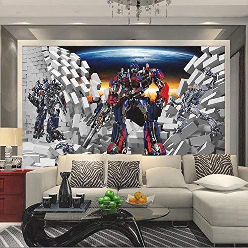 MJJBBH Selbstklebende Tapete Wandbild (B) 200X (H) 150Cm Tapete 3D Foto Cartoon Anime Coole Verformung Auto Roboter Kinderschlafzimmer 3D Wandbild Wandkunst Junge Mädchen Zimmer Wand Poster Wohnzi