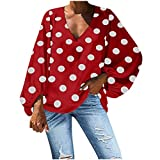 NANTE Top Women's Blouse Casual V-Neck Polka Dot Print Lantern Sleeve Loose T-Shirt Fashion Baggy Tops Ladies Oversize Blouses Costume (Red, M)