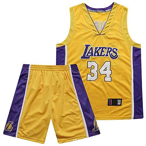 Anoauit NBA Lakers Meisterschaft Basketball Trikot Shaq O'Neal # 34 V-Ausschnitt Hochdichte Stickerei Trikot Basketball Atmungsaktives Training Fitness Weste Anzug-Gelb_XXX-groß