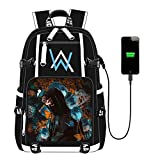 Canvas Backpack for School, Anime Printing Backpack College Bookbag Laptop Backpack with USB Charging Port (Black1)
