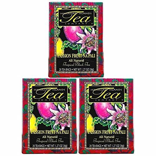 Hawaiian Islands Passion Fruit Na Pali Tropical Black Tea, All Natural - 20 Teabags Per box (60 Tea Bags (Pack of 3))