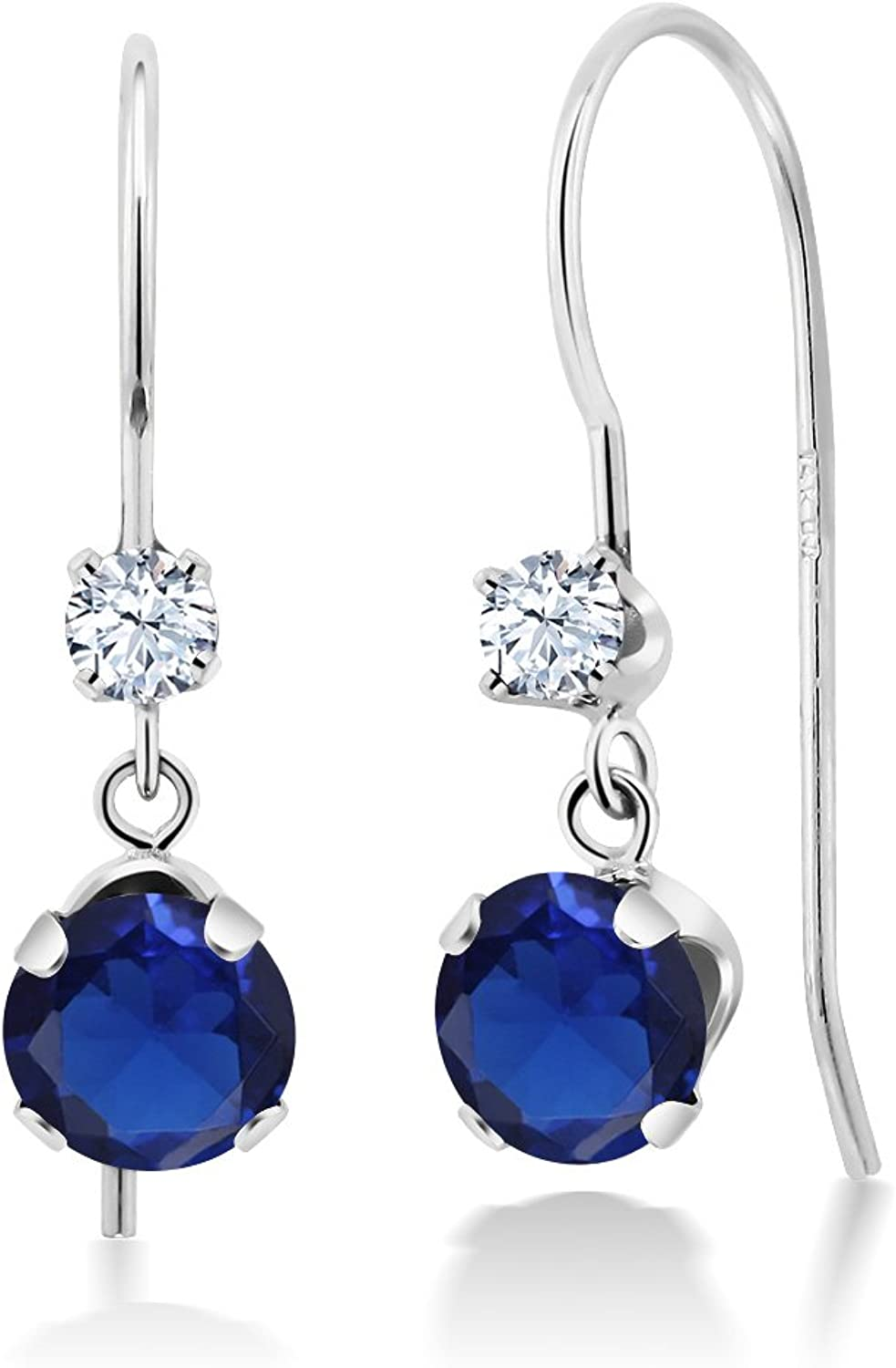 1.20 Ct Round bluee Simulated Sapphire 14K White gold Earrings