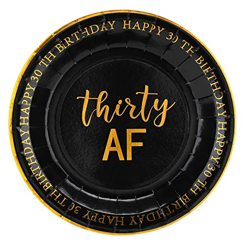 Crisky 30th Birthday Plates Black and Gold Dessert, Buffet, Cake, Lunch, Dinner Plates for 30th Birthday Decorations Party Supplies, Thirty, Happy 30th Birthday! 50 Count, 9 Plate