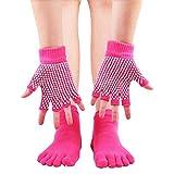 ESA Supplies Yoga Socks and Gloves for Women Pink Toe Yoga Socks Non Slip Pilates Socks with Grips for Women Size 5-8