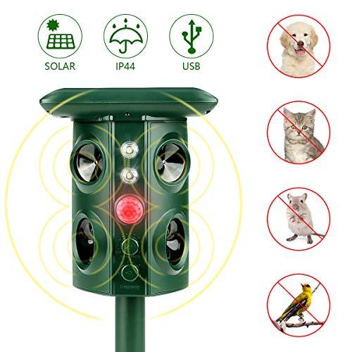 BestCool Ultraschall Tiervertreiber, Solar Tierabwehr Wasserdicht Abwehr Katzenschreck Hundeschreck Marderabwehr vogelabwehr mit 4 Lautsprechern und 2 LED-Blinklichtern