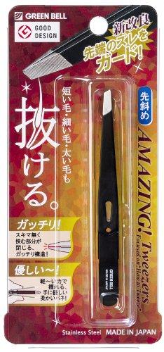 驚きの毛抜き 先斜めタイプ(ブラック) GT-222