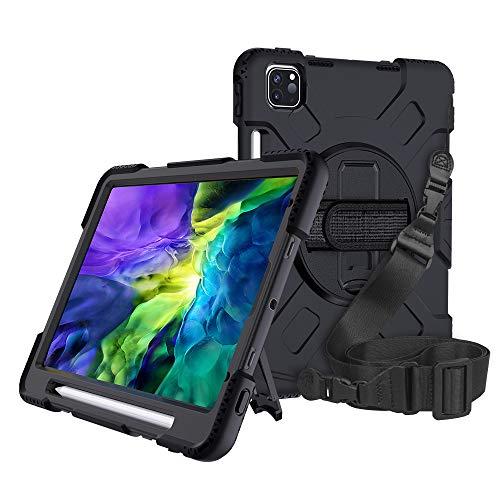 OUHAO Funda para iPad Pro 11 2020, soporte de carga de lápiz, a prueba de golpes, resistente funda protectora con correa de mano y correa de hombro (negro)