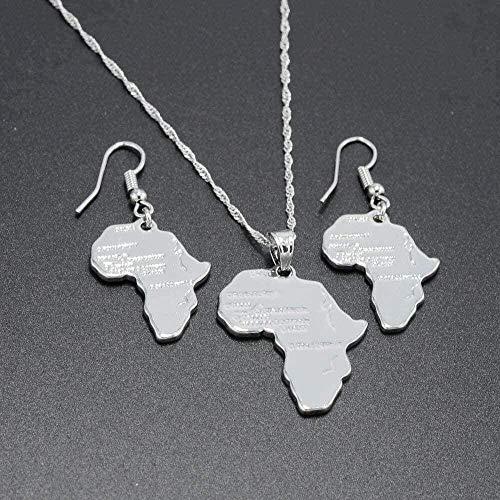 NONGYEYH co.,ltd Collar Mapa de África Collares Pendientes Pendientes Color Plata Joyería de Etiopía Mujeres Un Conjunto de mapas