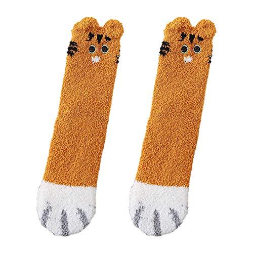 3D Mujeres Invierno Fuzzy Zapatilla Calcetines Dibujos Animados Orejas Gato Pata Caliente Dormir Medias Regalo Coral Terciopelo Medias