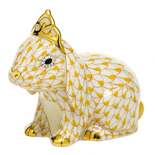 Herend Bunny Rabbit with Tiara Porcelain Figurine Butterscotch Fishnet