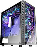 MUSETEX Phantom Black ATX Mid-Tower Case with USB3.0 and 6pcs 120mm ARGB Fans Pre-Installed, Tempered Glass Panels Gaming PC Case Computer Chassis