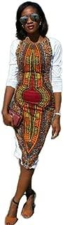 Franterd Women Dress Traditional African Dashiki Bodycon Deep O-Neck Party Dresses