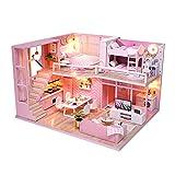 gudoqi kit da casa di bambole in legno, casa delle bambole in miniatura fai da te con mobili e musica, modello mini appartamento fatto a mano per adulti, dream angels