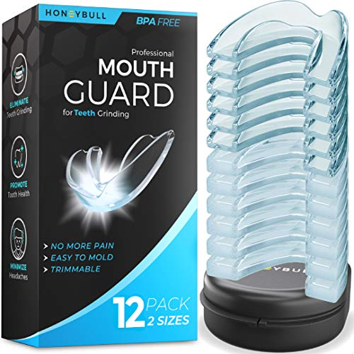 HONEYBULL Mouth Guard for Grinding Teeth [12 Pack] Comes in 2 Sizes for Light and Heavy Grinding | Comfortable Custom Mold for Clenching at Night, Bruxism, Whitening Tray & Guard