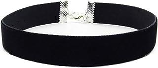 AsherKeep - Premium Black Vegan Leather Choker and Collar Necklace - Adjustable - Charms