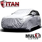 Premium Multi-Layer PEVA Compact SUV Cover. Compatible with RAV4, CR-V and More. Waterproof and UV Protective. Measures 187 Inches. Protective Lining, Driver-Side Zippered Opening, Tie-Down Straps