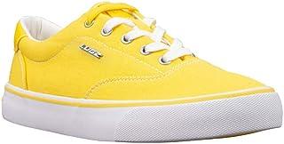 Lugz womens Flip Classic Low Top Fashion Sneaker, Yellow/White, 8.5 US