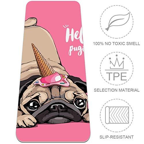 Eslifey Hello Pugicorn Puppy Pug Ice Cream Cap Esterilla de yoga 6 mm de grosor Esterillas de gimnasio ligeras sin olor Pilates Mat 182 x 24 pulgadas