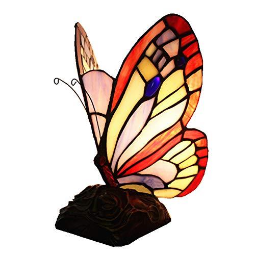 Simplulu - Lámpara de mesa, estilo europeo, color del mango, caricatura de cristal, mariposa, dormitorio infantil