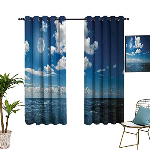 Anyangeight Ocean Decor Collection Grommet Curtains Full Moon Brightens Wavy Ocean and Horizon in a Romantic Cloudy Night Picture Print Grommet Top Window Treatment Drapes for Kitchen Windows 76'x45'