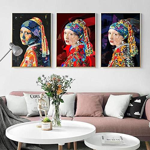 ganlanshu Ragazza 3 Pezzi con Un orecchino di Perla Quadro su Tela Decorazioni per la casa del Soggiorno Picture Picture Wall Pittura Senza cornice-60x90cmx3
