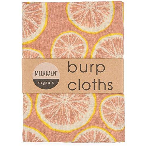 "Milkbarn Organic Cotton Burp Cloths ""Grapefruit"" - Set of Two"