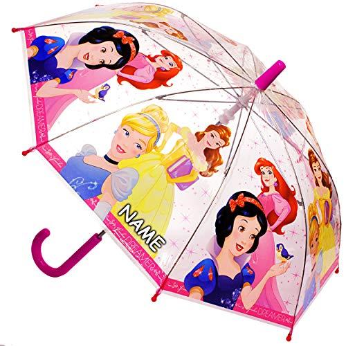 alles-meine.de GmbH Regenschirm -  Disney Princess - Prinzessin  - inkl. Name - Kinderschirm Ø 70 cm / durchsichtig & durchscheinend - transparent - Kinder - groß Stockschirm m..