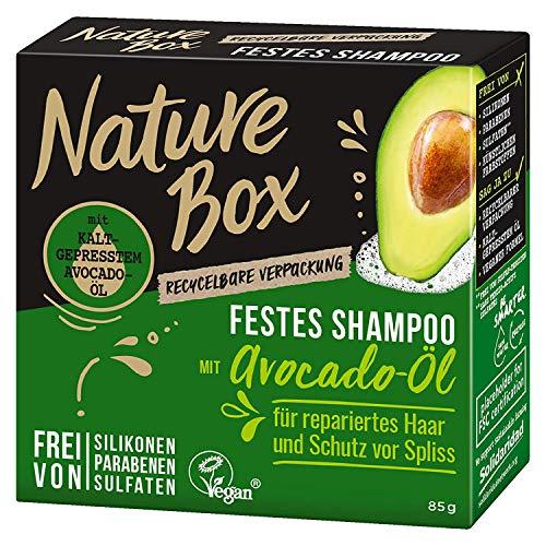 3 x Nature Box Festes Shampoo mit Avocado-Öl je 85g Schutz vor Spliss 0% Silikon